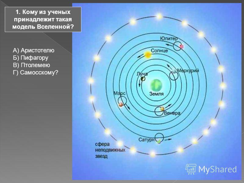 1. Кому из ученых принадлежит такая модель Вселенной? А) Аристотелю Б) Пифагору В) Птолемею Г) Самосскому?