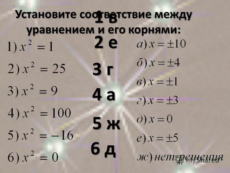 Установите соответствие между уравнением и его корнями: 2 е 3 г 4 а 5 ж 6 д 1 в