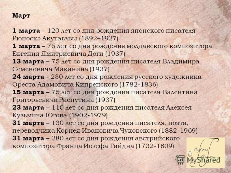 Март 1 марта – 120 лет со дня рождения японского писателя Рюноскэ Акутагавы (1892–1927) 1 марта – 75 лет со дня рождения молдавского композитора Евгения Дмитриевича Доги (1937) 13 марта – 75 лет со дня рождения писателя Владимира Семеновича Маканина