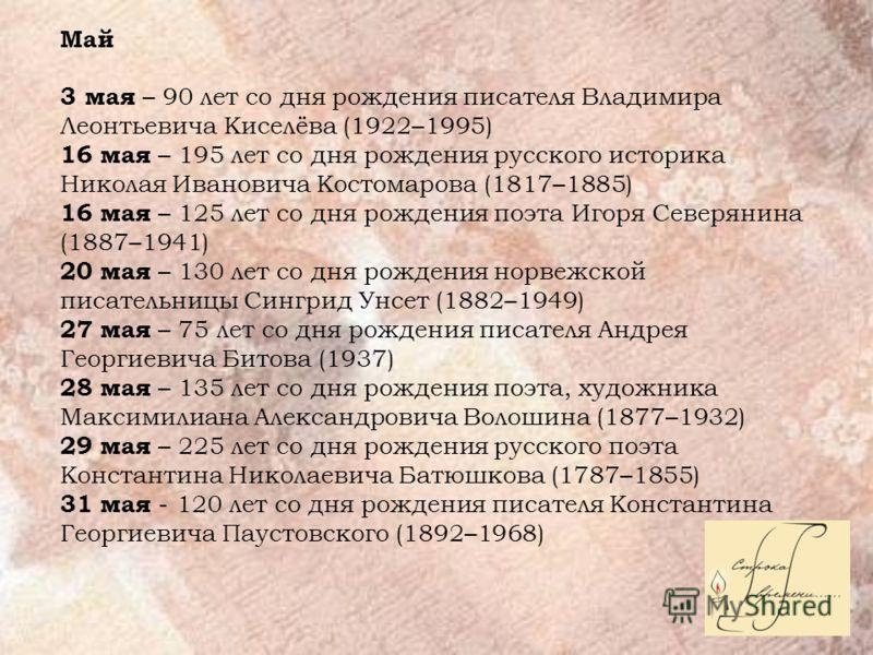 Май 3 мая – 90 лет со дня рождения писателя Владимира Леонтьевича Киселёва (1922–1995) 16 мая – 195 лет со дня рождения русского историка Николая Ивановича Костомарова (1817–1885) 16 мая – 125 лет со дня рождения поэта Игоря Северянина (1887–1941) 20