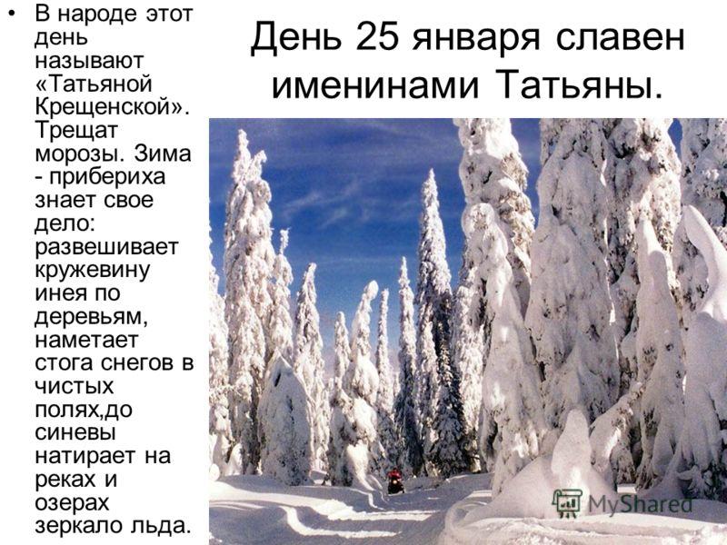 День 25 января славен именинами Татьяны. В народе этот день называют «Татьяной Крещенской». Трещат морозы. Зима - прибериха знает свое дело: развешивает кружевину инея по деревьям, наметает стога снегов в чистых полях,до синевы натирает на реках и оз