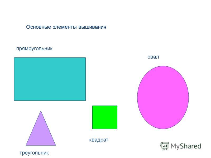 Основные элементы вышивания овал прямоугольник квадрат треугольник