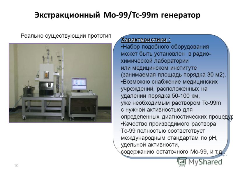 10 Экстракционный Mo-99/Tc-99m генератор Реально существующий прототип Характеристики : Набор подобного оборудования может быть установлен в радио- химической лаборатории или медицинском институте (занимаемая площадь порядка 30 м2). Возможно снабжени