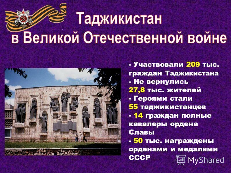 Население на 1940 г. - 2,7 млн. человек Призвано на войну со стороны СССР – 437 тыс. человек Из них погибло – 150 тыс. человек