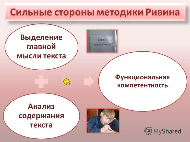Выделение главной мысли текста Анализ содержания текста Функциональная компетентность