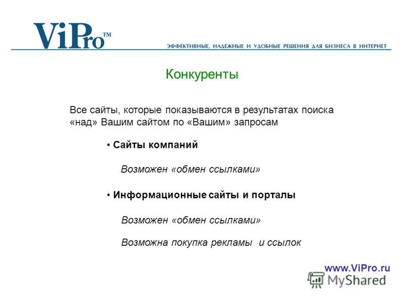 www.ViPro.ru Конкуренты Все сайты, которые показываются в результатах поиска «над» Вашим сайтом по «Вашим» запросам Сайты компаний Информационные сайты и порталы Возможен «обмен ссылками» Возможна покупка рекламы и ссылок