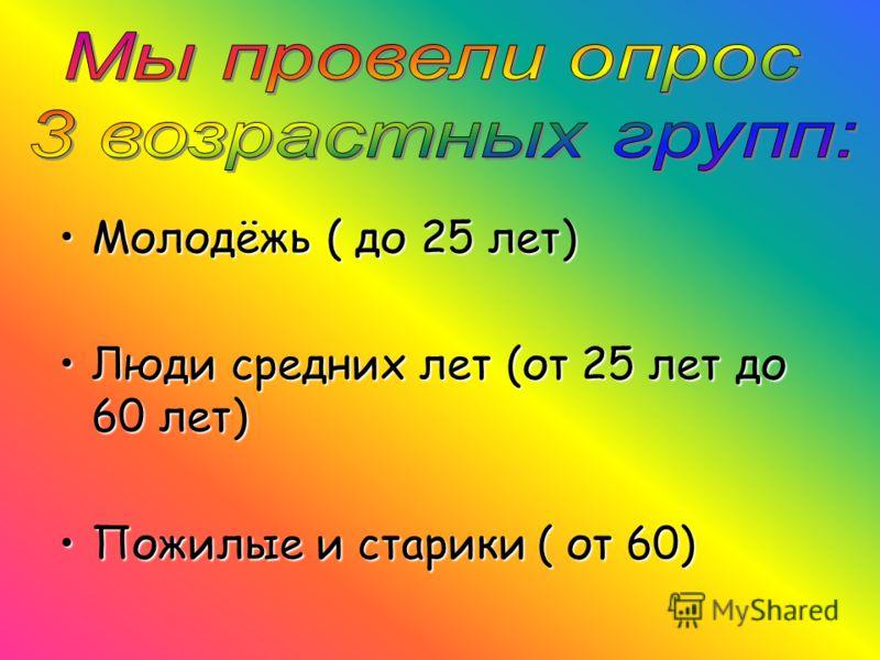 Молодёжь ( до 25 лет)Молодёжь ( до 25 лет) Люди средних лет (от 25 лет до 60 лет)Люди средних лет (от 25 лет до 60 лет) Пожилые и старики ( от 60)Пожилые и старики ( от 60)