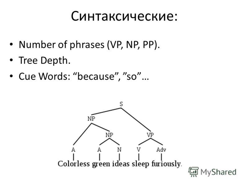 Синтаксические: Number of phrases (VP, NP, PP). Tree Depth. Cue Words: because, so…