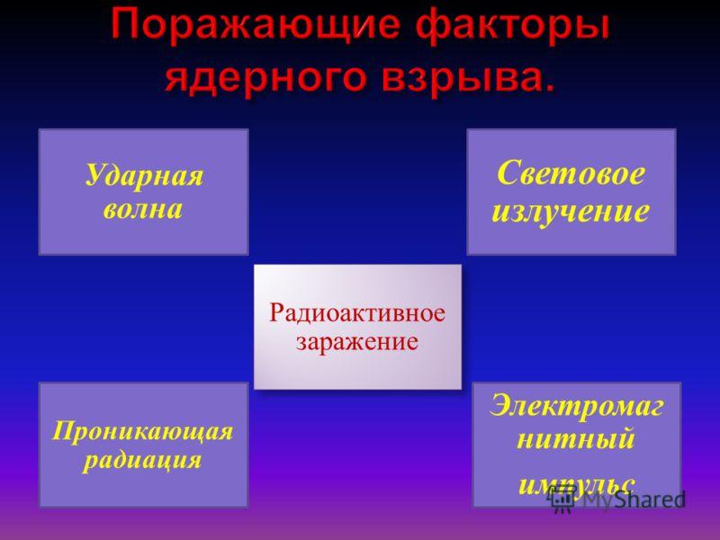 Ударная волна Световое излучение Проникающая радиация Радиоактивное заражение Электромаг нитный импульс