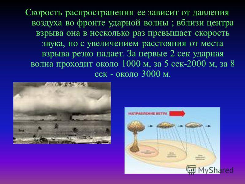 Скорость распространения ее зависит от давления воздуха во фронте ударной волны ; вблизи центра взрыва она в несколько раз превышает скорость звука, но с увеличением расстояния от места взрыва резко падает. За первые 2 сек ударная волна проходит окол