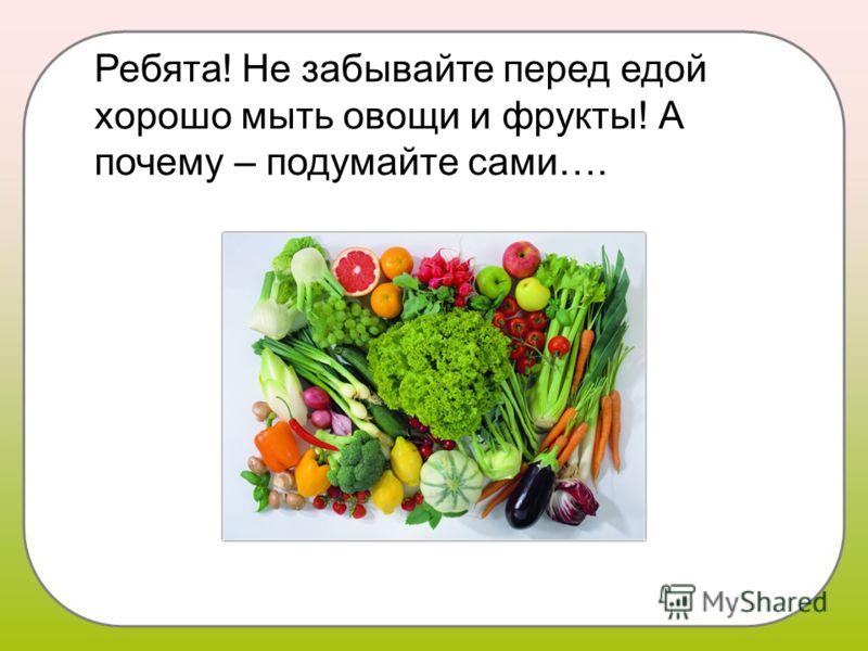Ребята! Не забывайте перед едой хорошо мыть овощи и фрукты! А почему – подумайте сами….