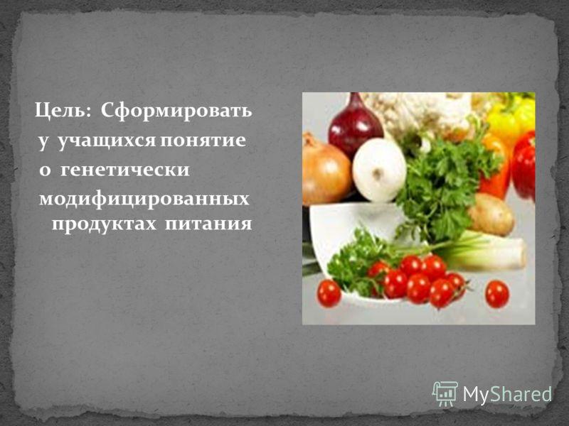 Цель: Сформировать у учащихся понятие о генетически модифицированных организмах и продуктах питания