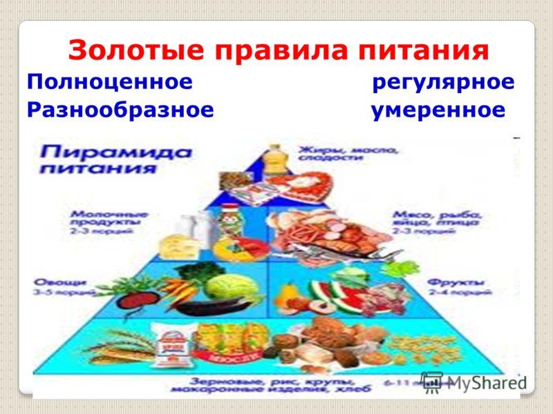 Золотые правила питания Полноценное регулярное Разнообразное умеренное