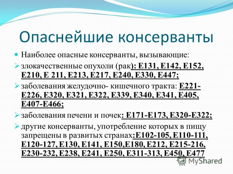 Опаснейшие консерванты Наиболее опасные консерванты, вызывающие: злокачественные опухоли (рак): Е131, Е142, Е152, Е210, Е 211, Е213, Е217, Е240, Е330, Е447; заболевания желудочно- кишечного тракта: Е221- Е226, Е320, Е321, Е322, Е339, Е340, Е341, Е405