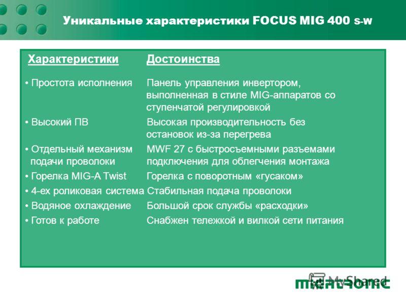 Уникальные характеристики FOCUS MIG 400 S-W ХарактеристикиДостоинства Простота исполненияПанель управления инвертором, Простота исполненияПанель управления инвертором, выполненная в стиле MIG-аппаратов со ступенчатой регулировкой Высокий ПВВысокая пр