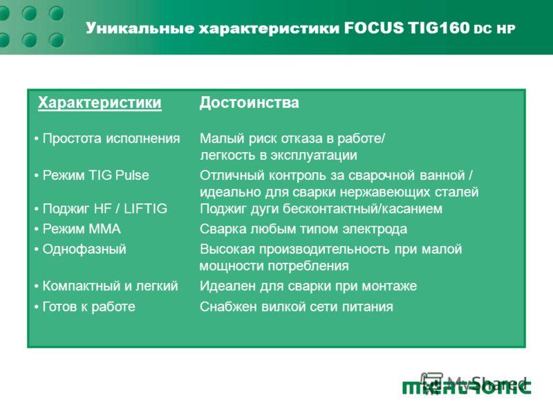 Уникальные характеристики FOCUS TIG160 DC HP ХарактеристикиДостоинства Простота исполненияМалый риск отказа в работе/ легкость в эксплуатации Простота исполненияМалый риск отказа в работе/ легкость в эксплуатации Режим TIG PulseОтличный контроль за с