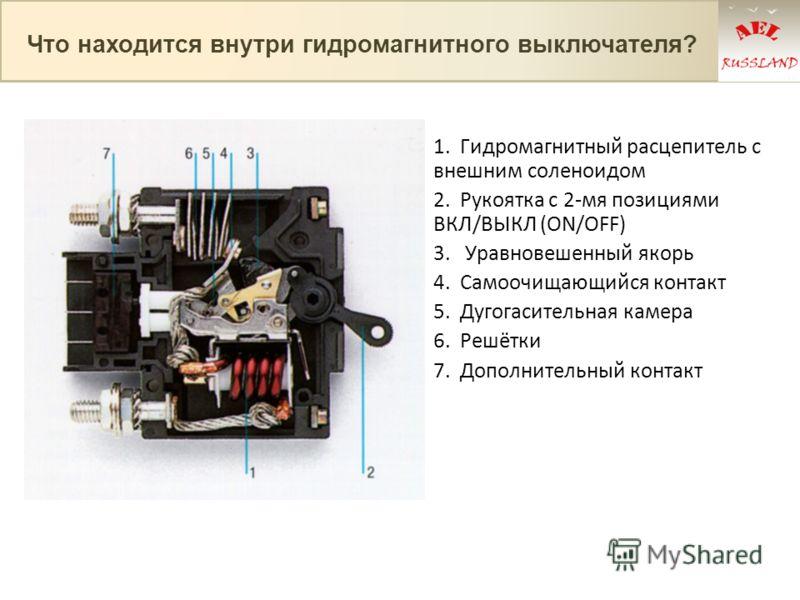 1. Гидромагнитный расцепитель с внешним соленоидом 2. Рукоятка с 2-мя позициями ВКЛ/ВЫКЛ (ON/OFF) 3. Уравновешенный якорь 4. Самоочищающийся контакт 5. Дугогасительная камера 6. Решётки 7. Дополнительный контакт Что находится внутри гидромагнитного в