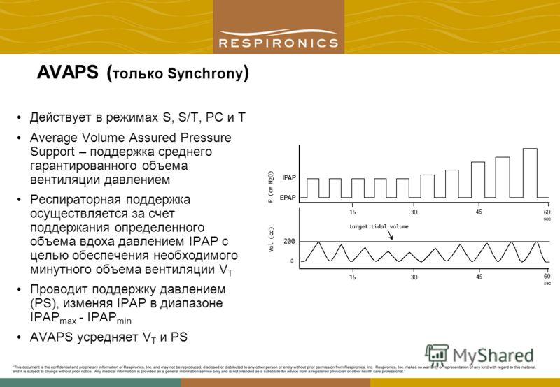 AVAPS ( только Synchrony ) Действует в режимах S, S/T, PC и T Average Volume Assured Pressure Support – поддержка среднего гарантированного объема вентиляции давлением Респираторная поддержка осуществляется за счет поддержания определенного объема вд