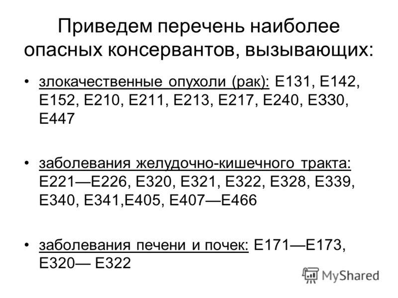 Приведем перечень наиболее опасных консервантов, вызывающих: злокачественные опухоли (рак): Е131, Е142, Е152, Е210, Е211, Е213, Е217, Е240, ЕЗЗ0, Е447 заболевания желудочно-кишечного тракта: Е221Е226, Е320, Е321, Е322, Е328, Е339, Е340, Е341,Е405, Е4
