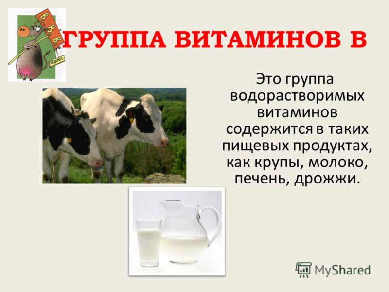 ГРУППА ВИТАМИНОВ В Это группа водорастворимых витаминов содержится в таких пищевых продуктах, как крупы, молоко, печень, дрожжи.