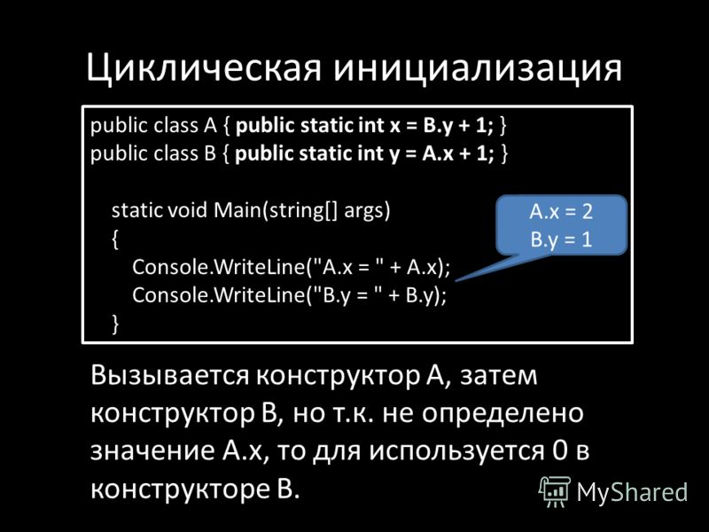 Циклическая инициализация public class A { public static int x = B.y + 1; } public class B { public static int y = A.x + 1; } static void Main(string[] args) { Console.WriteLine(