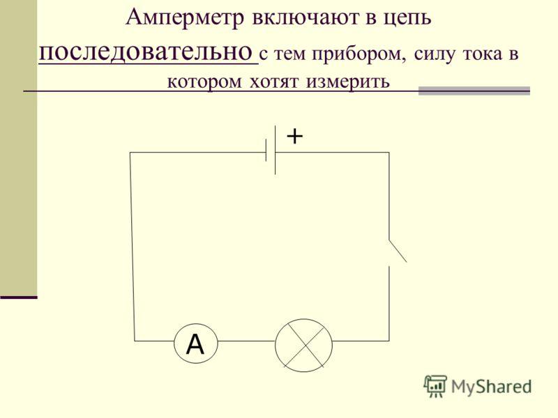 Амперметр включают в цепь последовательно с тем прибором, силу тока в котором хотят измерить A +