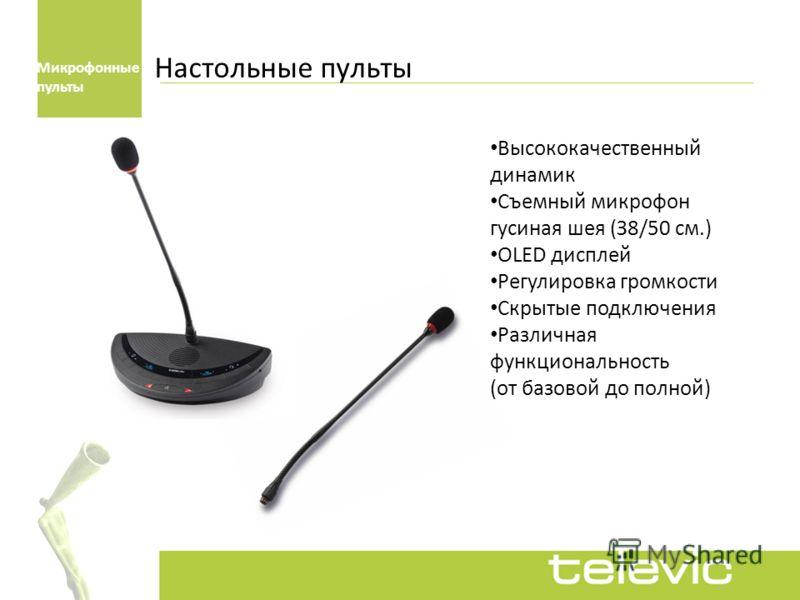 Настольные пульты Высококачественный динамик Съемный микрофон гусиная шея (З8/50 см.) ОLED дисплей Регулировка громкости Скрытые подключения Различная функциональность (от базовой до полной) Микрофонные пульты