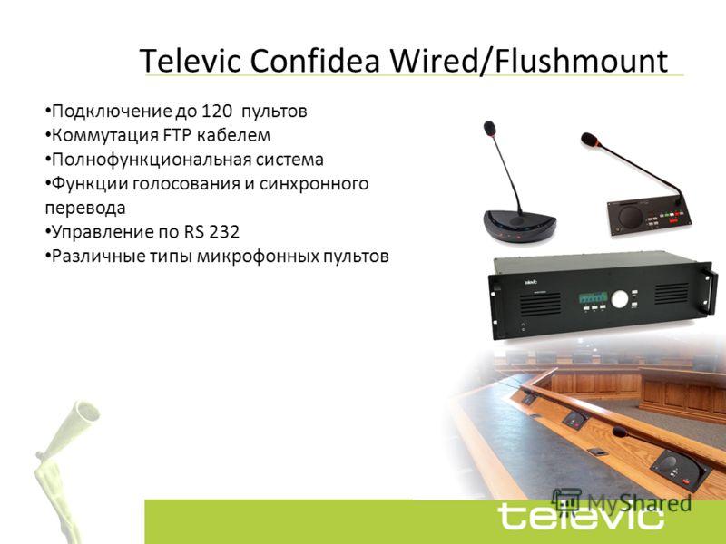 Подключение до 120 пультов Коммутация FTP кабелем Полнофункциональная система Функции голосования и синхронного перевода Управление по RS 232 Различные типы микрофонных пультов