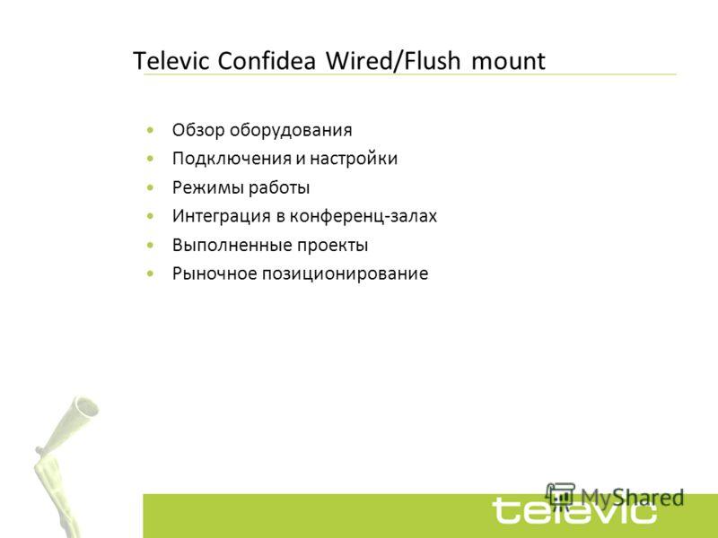Televic Сonfidea Wired/Flush mount Обзор оборудования Подключения и настройки Режимы работы Интеграция в конференц-залах Выполненные проекты Рыночное позиционирование