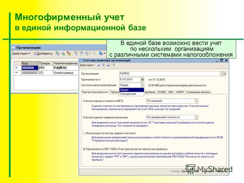 Многофирменный учет в единой информационной базе В единой базе возможно вести учет по нескольким организациям с различными системами налогообложения