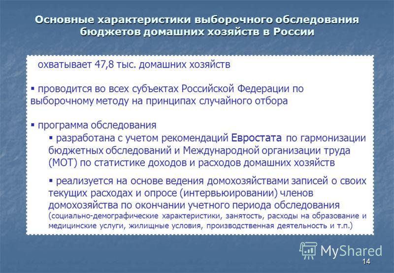 14 Основные характеристики выборочного обследования бюджетов домашних хозяйств в России охватывает 47,8 тыс. домашних хозяйств проводится во всех субъектах Российской Федерации по выборочному методу на принципах случайного отбора программа обследован