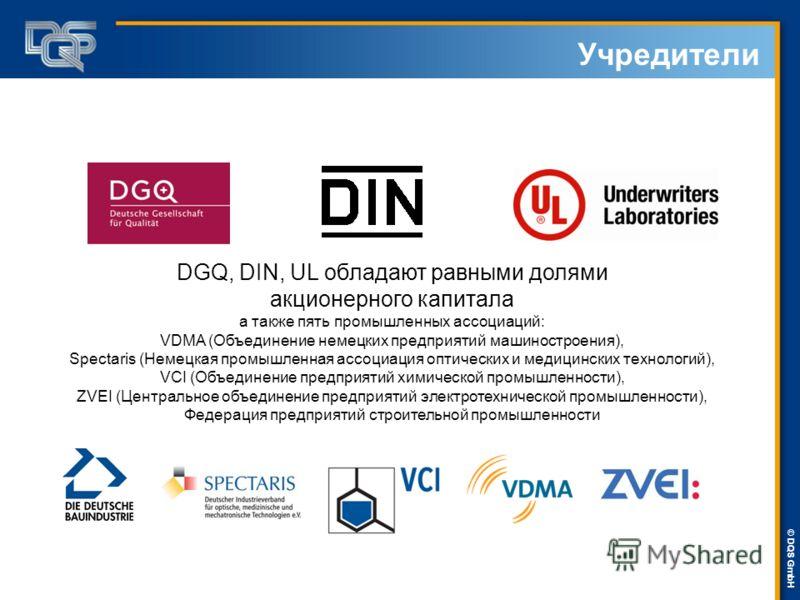 DQS-UL Management Systems Solutions © © DQS GmbH Учредители DGQ, DIN, UL обладают равными долями акционерного капитала а также пять промышленных ассоциаций: VDMA (Объединение немецких предприятий машиностроения), Spectaris (Немецкая промышленная ассо