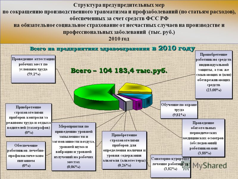 Всего – 104 183,4 тыс.руб. Всего на предприятиях здравоохранения в 2010 году Структура предупредительных мер по сокращению производственного травматизма и профзаболеваний (по статьям расходов), обеспеченных за счет средств ФСС РФ на обязательное соци