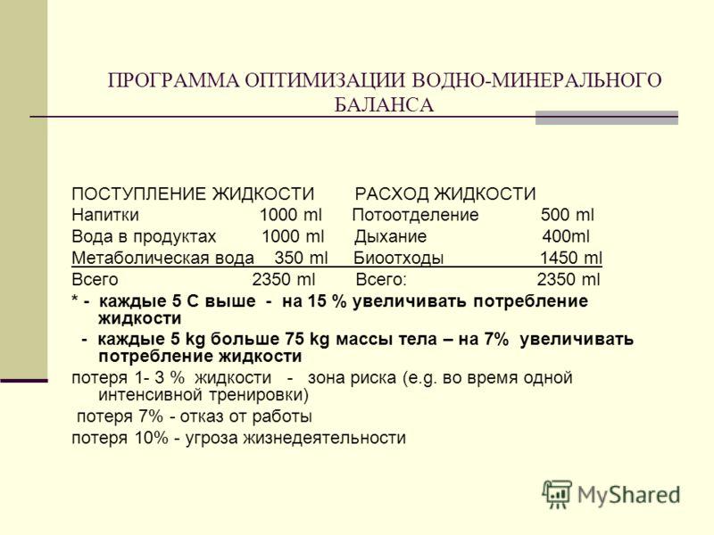 ПРОГРАММА ОПТИМИЗАЦИИ ВОДНО-МИНЕРАЛЬНОГО БАЛАНСА ПОСТУПЛЕНИЕ ЖИДКОСТИ РАСХОД ЖИДКОСТИ Напитки 1000 ml Потоотделение 500 ml Вода в продуктах 1000 ml Дыхание 400ml Метаболическая вода 350 ml Биоотходы 1450 ml Всего 2350 ml Всего: 2350 ml * - каждые 5 C