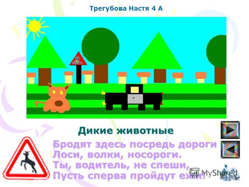 Бродят здесь посредь дороги Лоси, волки, носороги. Ты, водитель, не спеши, Пусть сперва пройдут ежи! Трегубова Настя 4 А Дикие животные