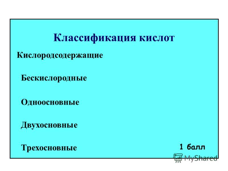 Классификация кислот Кислородсодержащие Бескислородные Одноосновные Двухосновные Трехосновные 1 балл