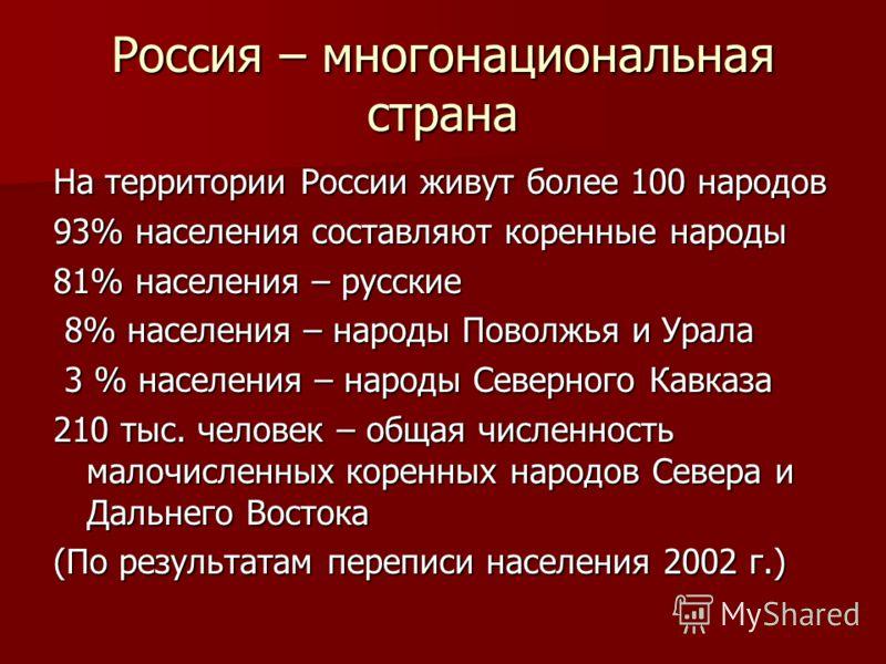 Россия – многонациональная страна На территории России живут более 100 народов 93% населения составляют коренные народы 81% населения – русские 8% населения – народы Поволжья и Урала 8% населения – народы Поволжья и Урала 3 % населения – народы Север