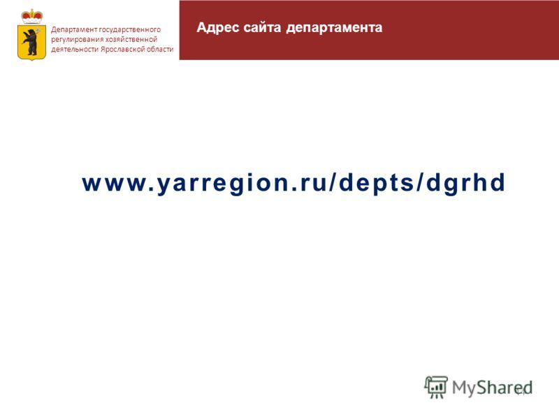 14 Департамент государственного регулирования хозяйственной деятельности Ярославской области www.yarregion.ru/depts/dgrhd Адрес сайта департамента