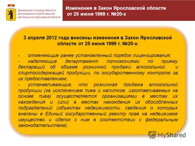 5 Департамент государственного регулирования хозяйственной деятельности Ярославской области 3 апреля 2012 года внесены изменения в Закон Ярославской области от 25 июня 1999 г. 20-з: -отменяющие ранее установленный порядок лицензирования; -наделяющие