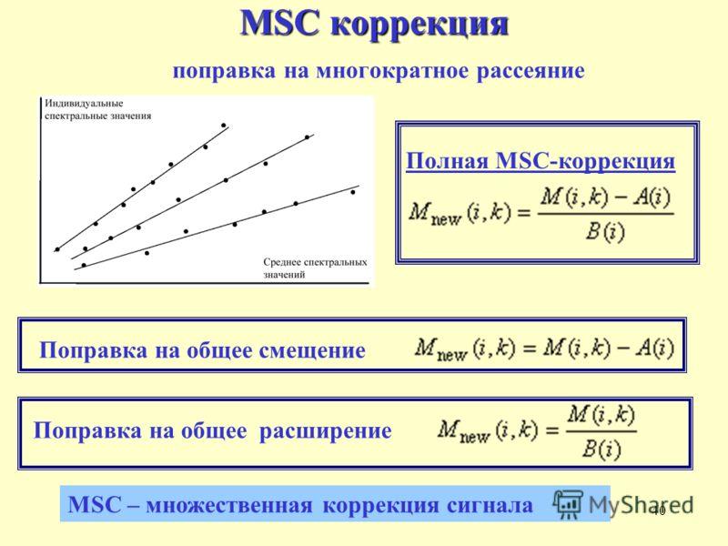 40 MSC коррекция MSC коррекция поправка на многократное рассеяние MSC – множественная коррекция сигнала Поправка на общее смещениеПоправка на общее расширение Полная MSC-коррекция