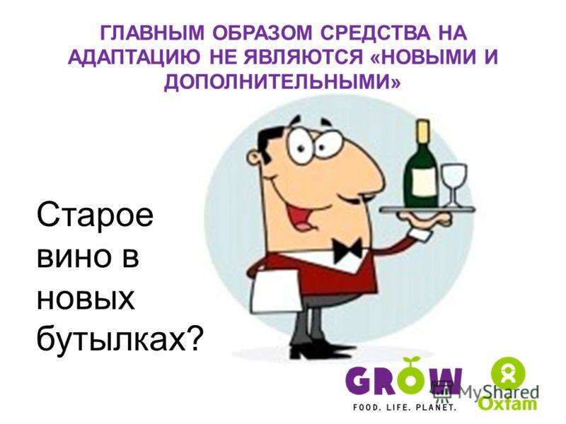 ГЛАВНЫМ ОБРАЗОМ СРЕДСТВА НА АДАПТАЦИЮ НЕ ЯВЛЯЮТСЯ «НОВЫМИ И ДОПОЛНИТЕЛЬНЫМИ» Старое вино в новых бутылках?
