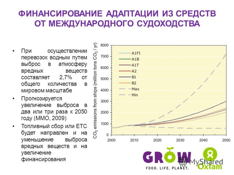 ФИНАНСИРОВАНИЕ АДАПТАЦИИ ИЗ СРЕДСТВ ОТ МЕЖДУНАРОДНОГО СУДОХОДСТВА При осуществлении перевозок водным путем выброс в атмосферу вредных веществ составляет 2,7% от общего количества в мировом масштабе Прогнозируется увеличение выброса в два или три раза