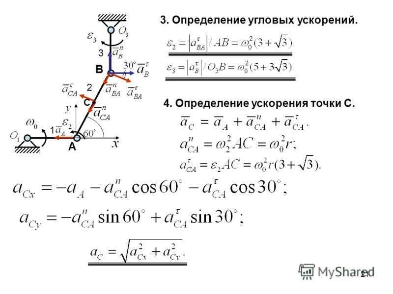 21 A B 1 2 3 C 3. Определение угловых ускорений. 4. Определение ускорения точки С.