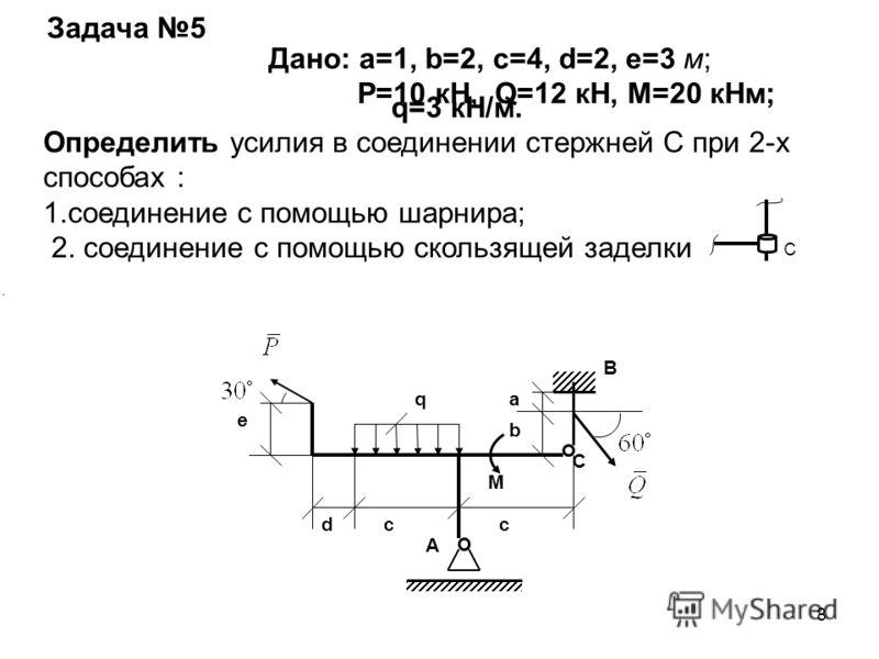 8 q M a b ccd e A B C C Задача 5 Дано: a=1, b=2, c=4, d=2, e=3 м; Р=10 кН, Q=12 кН, М=20 кНм; q=3 кН/м. Определить усилия в соединении стержней С при 2-х способах : 1.соединение с помощью шарнира; 2. соединение с помощью скользящей заделки