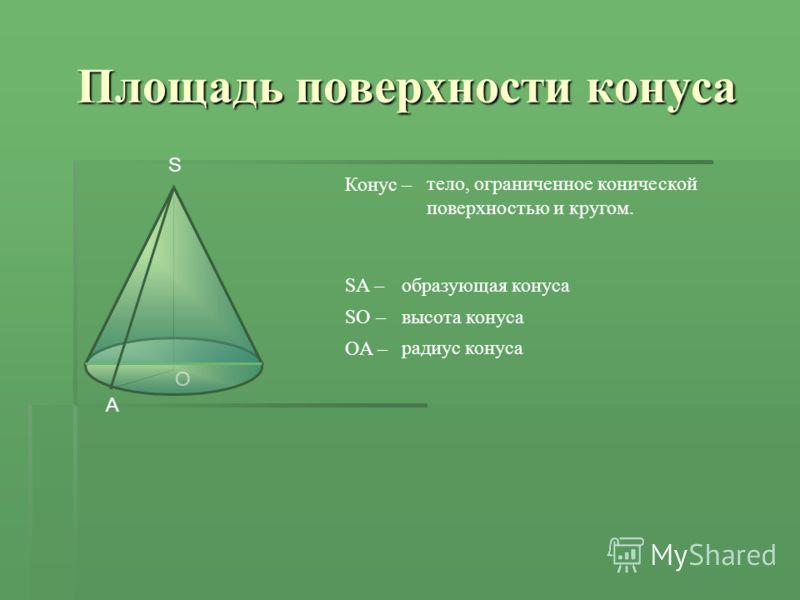 O A S Площадь поверхности конуса Конус – тело, ограниченное конической поверхностью и кругом. SA –образующая конуса SO –высота конуса OA – радиус конуса