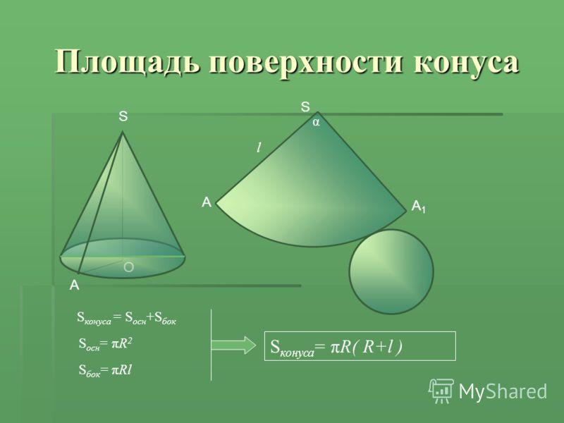 O A S Площадь поверхности конуса S конуса = S осн +S бок S конуса = πR( R+l ) S осн = πR 2 S бок = πRl S A A1A1 l α