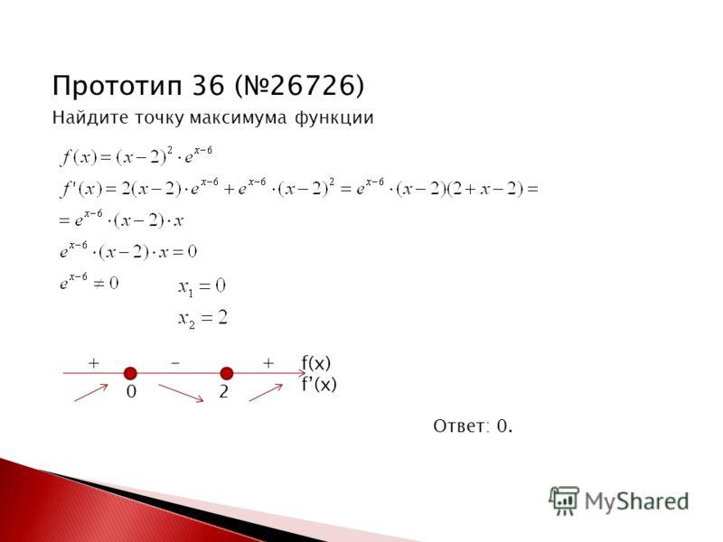Прототип 36 (26726) Найдите точку максимума функции Ответ: 0. 0 2 + - + f(x)