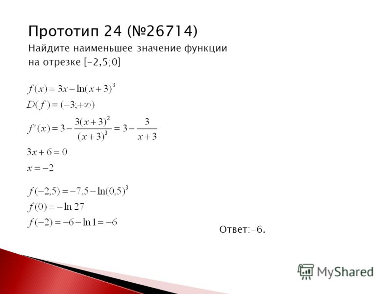 Прототип 24 (26714) Найдите наименьшее значение функции на отрезке [-2,5;0] Ответ:-6.