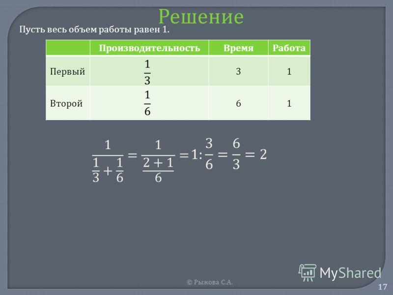 © Рыжова С. А. 17 Решение Пусть весь объем работы равен 1. ПроизводительностьВремяРабота Первый 31 Второй 61