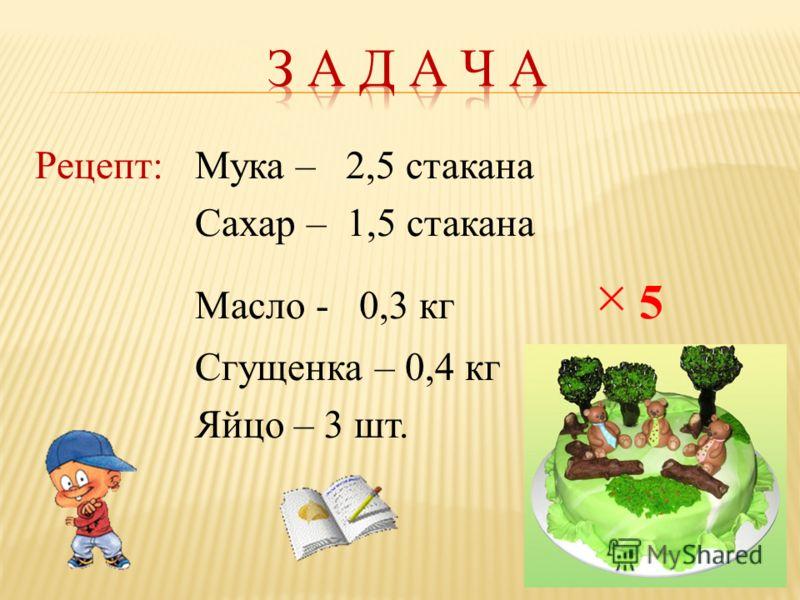 Рецепт:Мука – 2,5 стакана Сахар – 1,5 стакана Масло - 0,3 кг × 5 Сгущенка – 0,4 кг Яйцо – 3 шт.